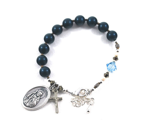 St Jude Rosary Bracelet Navy blue +  Swarovski Crystal Bracelet Saint Jude Rosary bracelet Protection + Strength, Lost Causes. Catholic