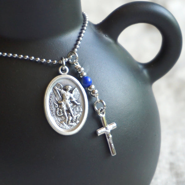 St Michael Necklace, Saint Michael, Archangel Michael catholic necklace, Lapis Lazuli protection necklace Meaningful religious gift catholic