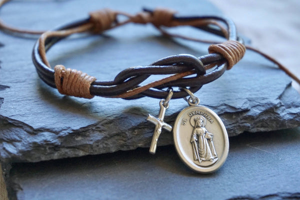 St Dymphna + cross brown Leather bracelet. Saint Dymphna bracelet Catholic bracelet silver cross mens gift idea, Patron saint of Anxiety.