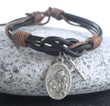 Catholic Saint + cross brown Leather bracelet Saint bracelet Catholic bracelet mens gift idea Choose Your Saint St Michael St Gerard St Mark