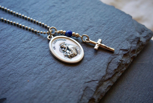St Anthony Necklace, catholic necklace, Lapis Lazuli Gemstone St Anthony necklace Meaningful religious gift Saint Anthony Mens / Unisex