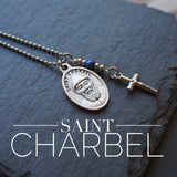 St Charbel Necklace, catholic Saint necklace, Lapis Lazuli Meaningful religious gift Saint Charbel Rosary Mens Unisex necklace confirmation