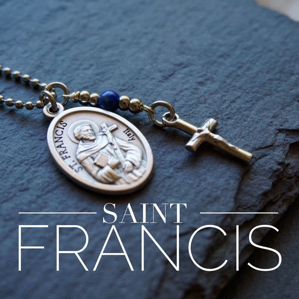 St Francis of Assisi Necklace, catholic Saint necklace, Lapis Lazuli, Saint necklace Meaningful religious gift St Francis Rosary Mens Unisex