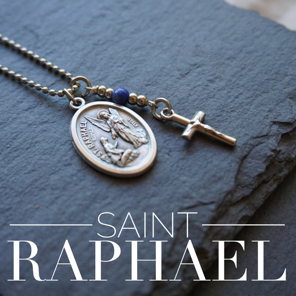 St Raphael Archangel Necklace, catholic necklace, Lapis Lazuli Gemstone Archangel Raphael necklace Meaningful religious gift Saint Raphael