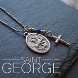 St George Necklace, catholic necklace, Lapis Lazuli Gemstone Saint George necklace Meaningful religious gift Saint George Mens / Unisex