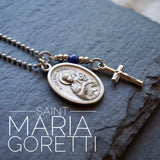 St Maria Goretti Necklace, catholic necklace Lapis Lazuli Gemstone Saint Maria Meaningful religious gift Saint Maria Goretti Unisex jewelry