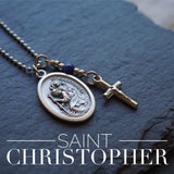 St Christopher Necklace, catholic necklace, Lapis Lazuli Gemstone Saint Christopher necklace Meaningful religious gift Mens Safe Travels