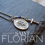 St Florian Necklace, catholic necklace, Lapis Lazuli Gemstone St Florian necklace Meaningful religious gift Saint Florian Mens / Unisex