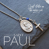 St Peter / St Paul Necklace, catholic Saint necklace, Lapis Lazuli Meaningful religious gift Saint Peter and Saint Paul Rosary Mens Unisex