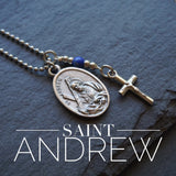St Andrew Necklace, catholic Saint necklace, Lapis Lazuli, Saint Andrew necklace Meaningful religious gift St Andrew Rosary Mens Unisex