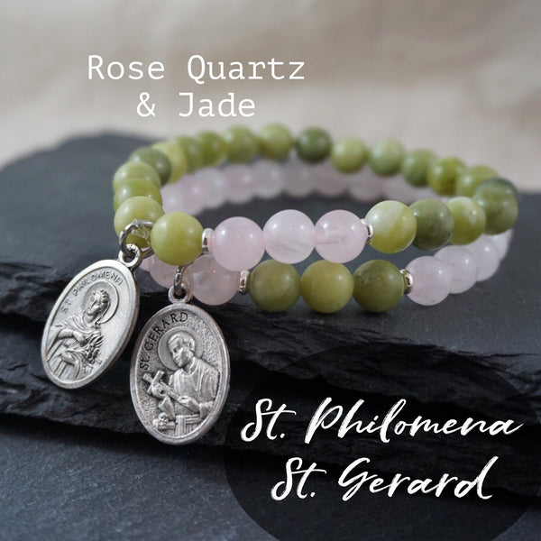 St Gerard + St Philomena Bracelet set . Patron Saint Bracelet. Fertility / Mothers Catholic Prayer Bracelets Rose Quartz + Jade