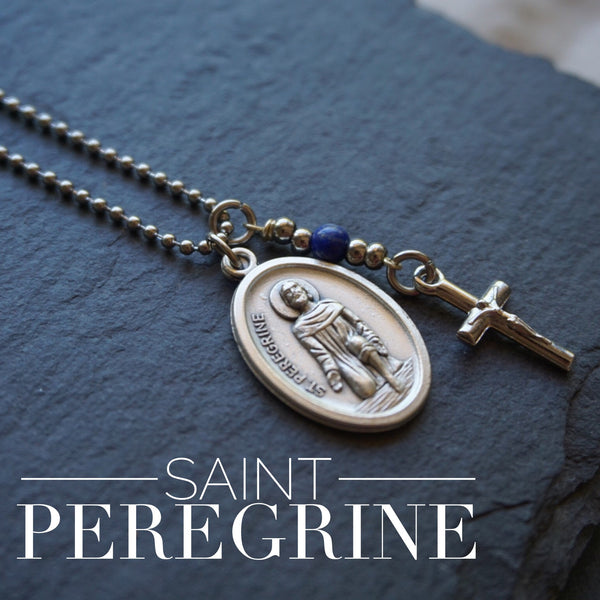 St Peregrine Necklace, catholic Saint necklace, Lapis Lazuli, Saint necklace Meaningful religious gift Saint Peregrine Medal Mens Unisex