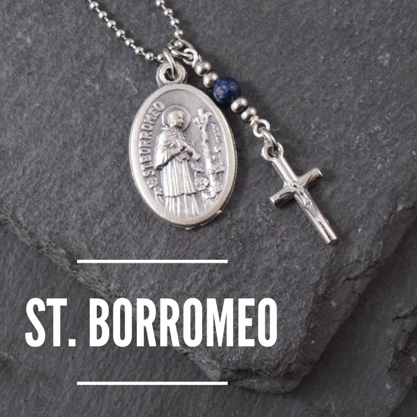 St Borromeo Necklace, catholic Saint necklace, Lapis Lazuli, Saint necklace Meaningful religious gift Saint Borromeo Rosary Mens Unisex