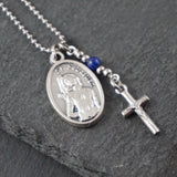 St Sebastian Necklace, catholic Saint necklace, Lapis Lazuli, Saint necklace Meaningful religious gift Saint Sebastian Rosary Mens Unisex