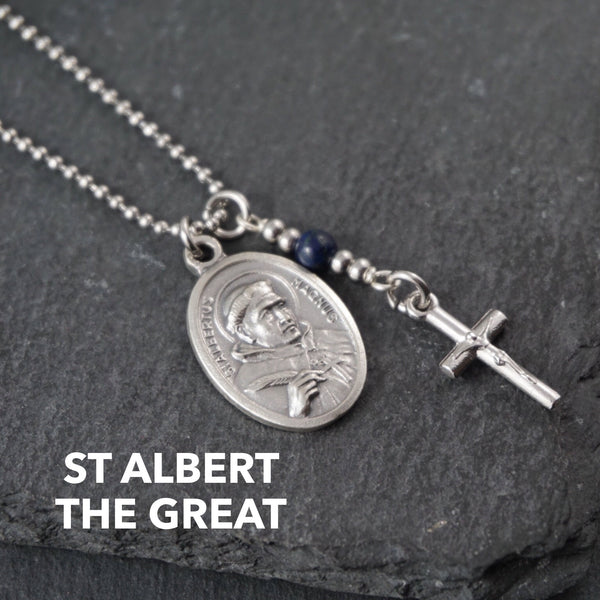 St Albert the Great Necklace, catholic Saint necklace, Lapis Lazuli Saint necklace Meaningful religious gift Saint Albert Rosary Mens Unisex