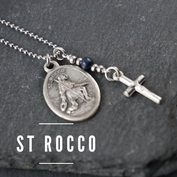 St Rocco Necklace, catholic Saint necklace, Lapis Lazuli, Saint necklace Meaningful religious gift Saint Rocco Rosary Mens Unisex necklace