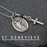St Genevieve Necklace, catholic Saint necklace, Lapis Lazuli, Saint necklace Meaningful religious gift Saint Genevieve Rosary Mens Unisex