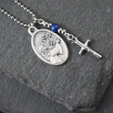St Modomnoc Necklace, catholic Saint necklace, Lapis Lazuli, Saint necklace Meaningful religious gift Saint Modomnoc Rosary Mens Unisex