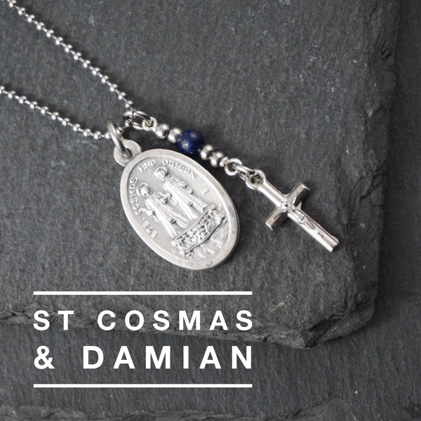St Cosmas and Damian Necklace, catholic Saint necklace, Lapis Lazuli necklace Meaningful religious gift Saint Cosmas and Damian Rosary