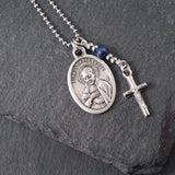 St Paul of the Cross Necklace, catholic Saint necklace, Lapis Lazuli, Saint necklace Meaningful religious gift St Paul Rosary Mens Unisex