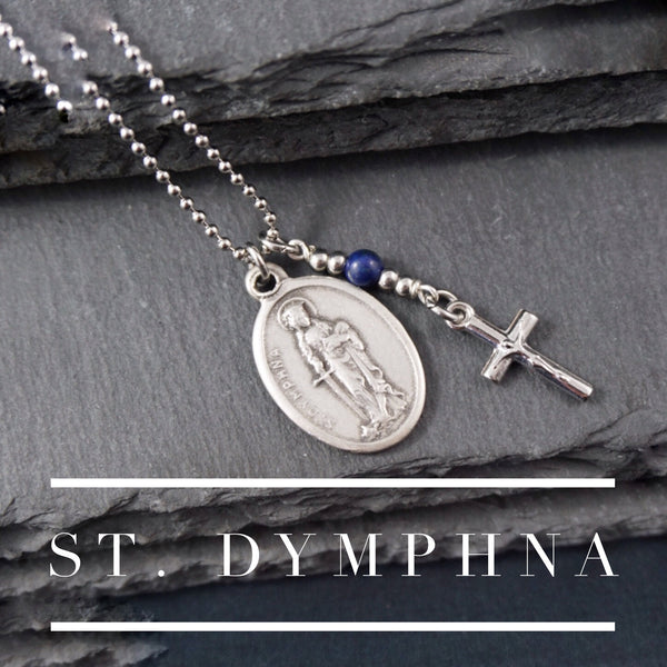 St Dymphna Necklace, catholic Saint necklace, Lapis Lazuli, Saint necklace Meaningful religious gift St Dymphna Rosary Mens Unisex Anxiety