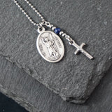 St John the Baptist Necklace, catholic Saint necklace, Lapis Lazuli, Saint necklace Meaningful religious gift Saint John Rosary Mens Unisex