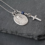 St Kevin Necklace, catholic Saint necklace, Lapis Lazuli, Saint necklace Meaningful religious gift Saint Kevin Rosary Mens Unisex