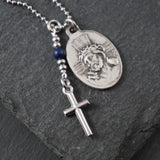 Our Lady Necklace, catholic Saint necklace, Lapis Lazuli, Saint necklace Meaningful religious gift Jesus / Ecce Homo Rosary Mens Unisex