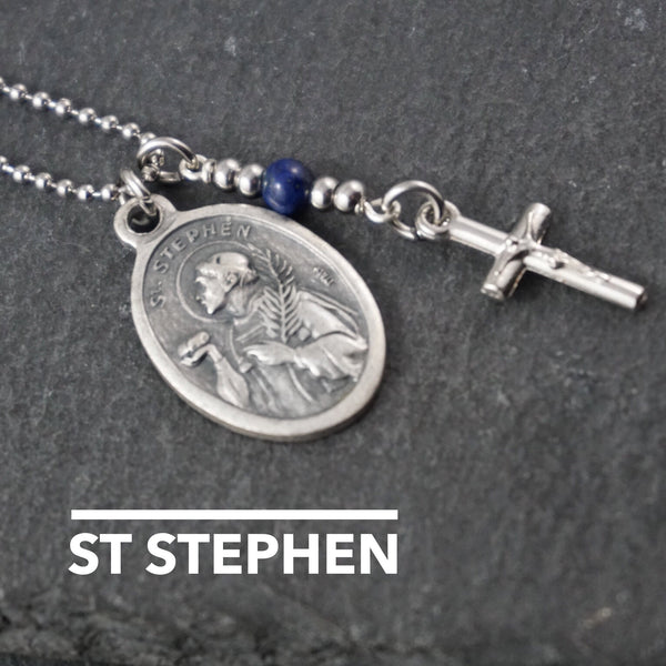 St Stephen Necklace, catholic Saint necklace, Lapis Lazuli Saint necklace Meaningful religious gift Saint Stephen Rosary Mens Unisex jewelry