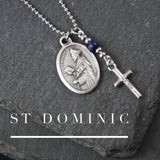 St Dominic Necklace, catholic Saint necklace, Lapis Lazuli Saint necklace Meaningful religious gift Saint Dominic Rosary Mens Unisex jewelry