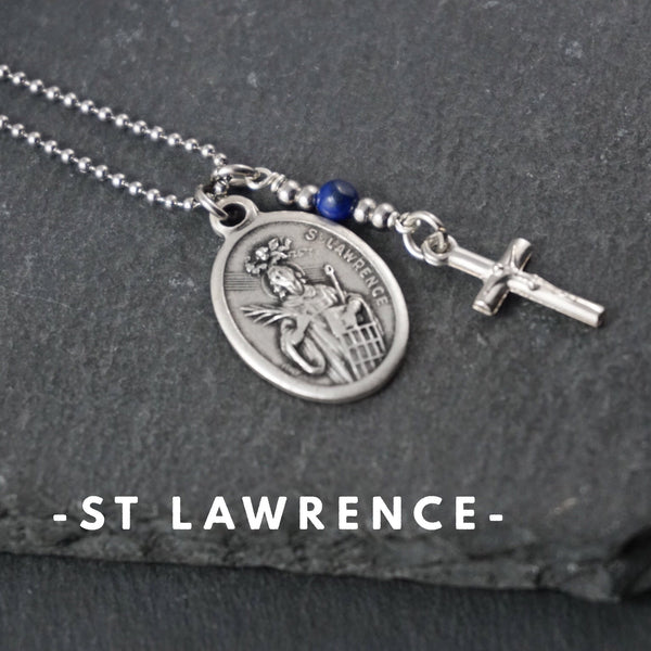 St Lawrence Necklace, catholic Saint necklace, Lapis Lazuli Saint necklace Meaningful religious gift Saint Lawrence Rosary Mens Unisex