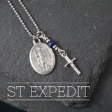 St Expedit Necklace, catholic Saint necklace, Lapis Lazuli Saint necklace Meaningful religious gift Saint Expedit Rosary Mens Unisex jewelry