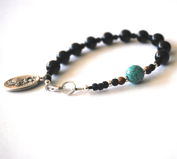 St John the Evangelist Mens Rosary Bracelet, Black Onyx Tigers Eye, Turquoise Saint Bracelet Male confirmation Gift Saint John Catholic