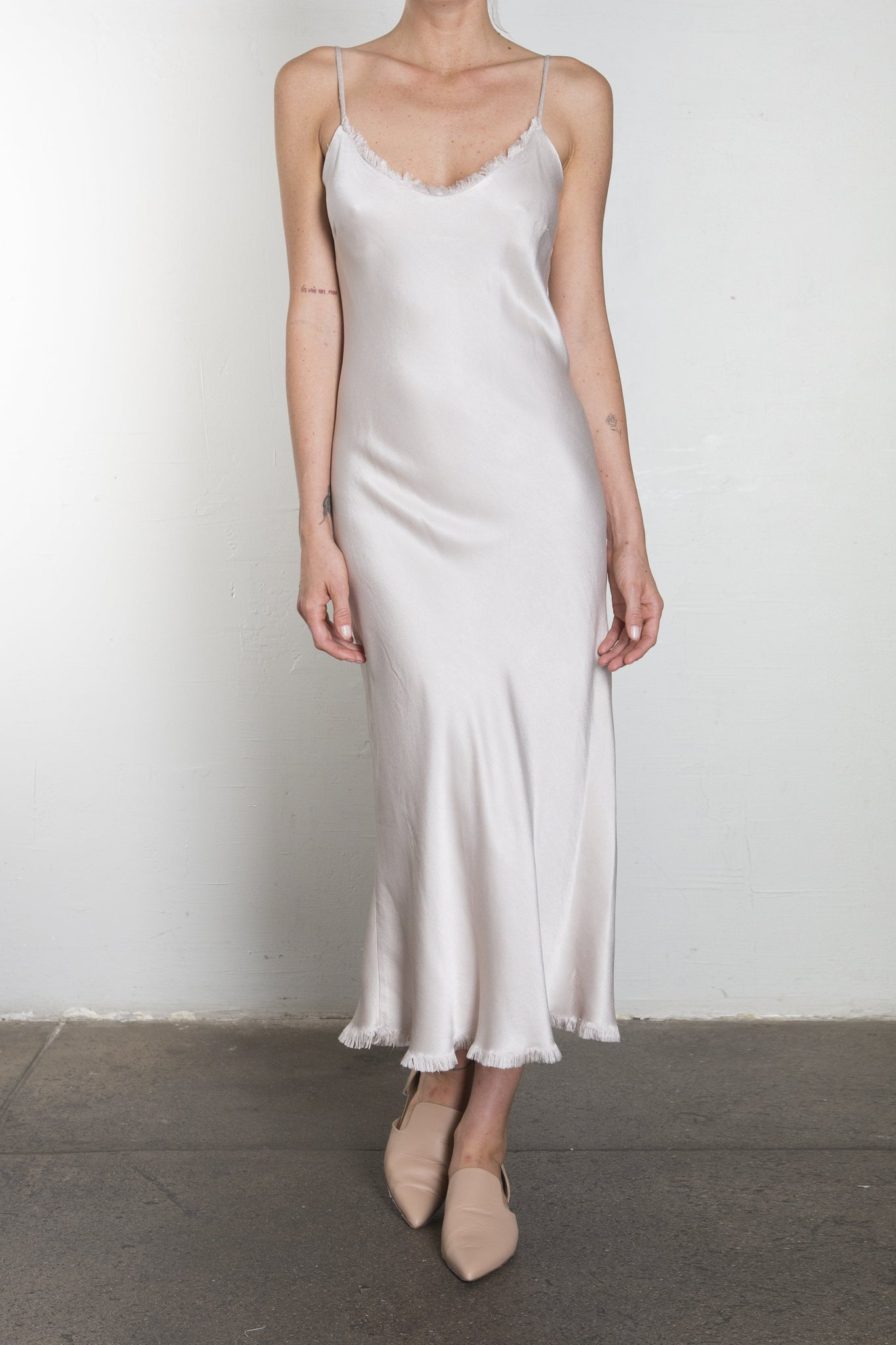 Farrah Slip Dress in Vintage Satin - Parchment