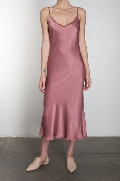 Farrah Slip Dress in Vintage Satin - Cinnamon