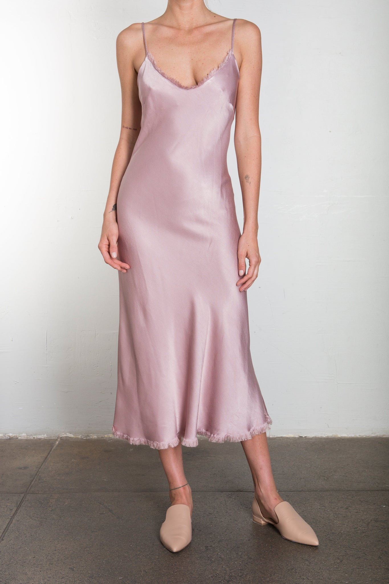 Farrah Slip Dress in Vintage Satin - BLUSH