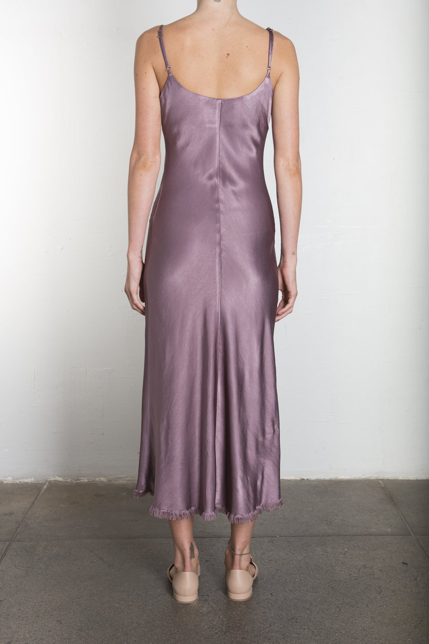 Farrah Slip Dress in Vintage Satin - STEEL