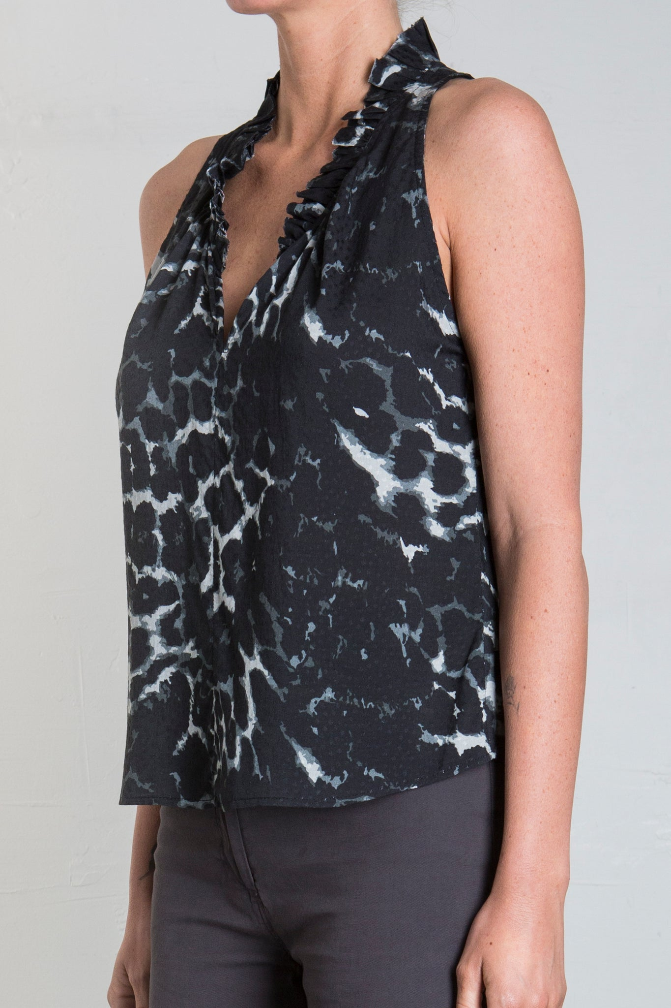 KNIGHTLY PRINTED TOP - DARK LEOPARD