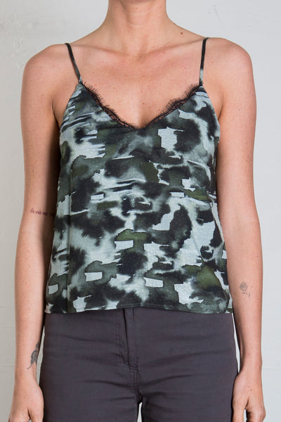 AMY LACE TRIM CAMI  - CAMO