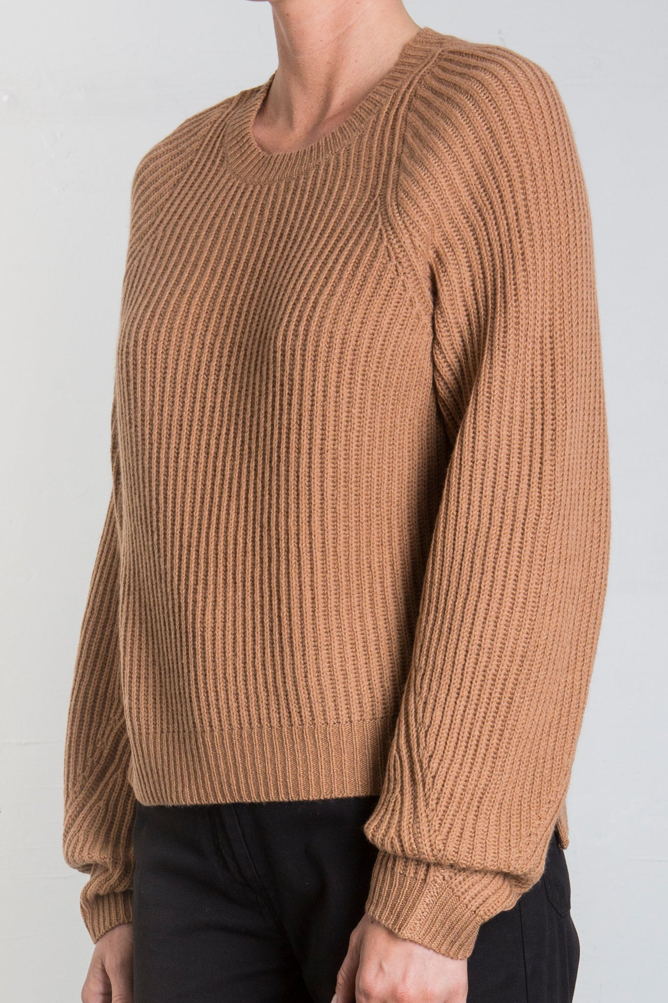 AVA  CASHMERE BLEND CREWNECK SWEATER - CHALK