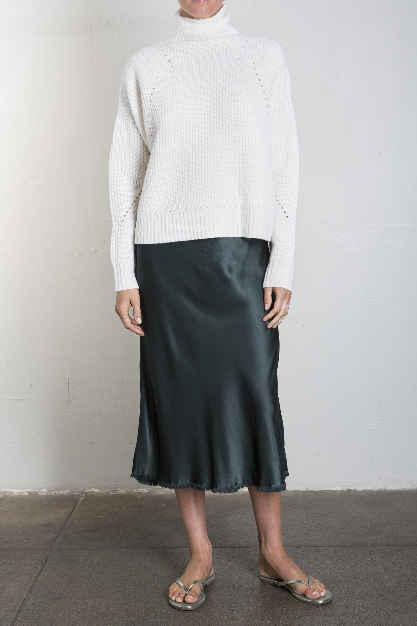 Riley Vintage Satin Skirt - Bottle