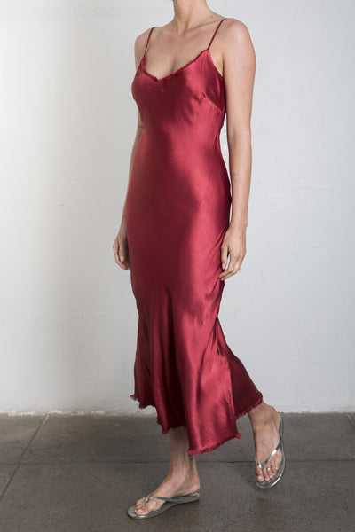 Farrah Slip Dress in Vintage Satin - CRIMSON