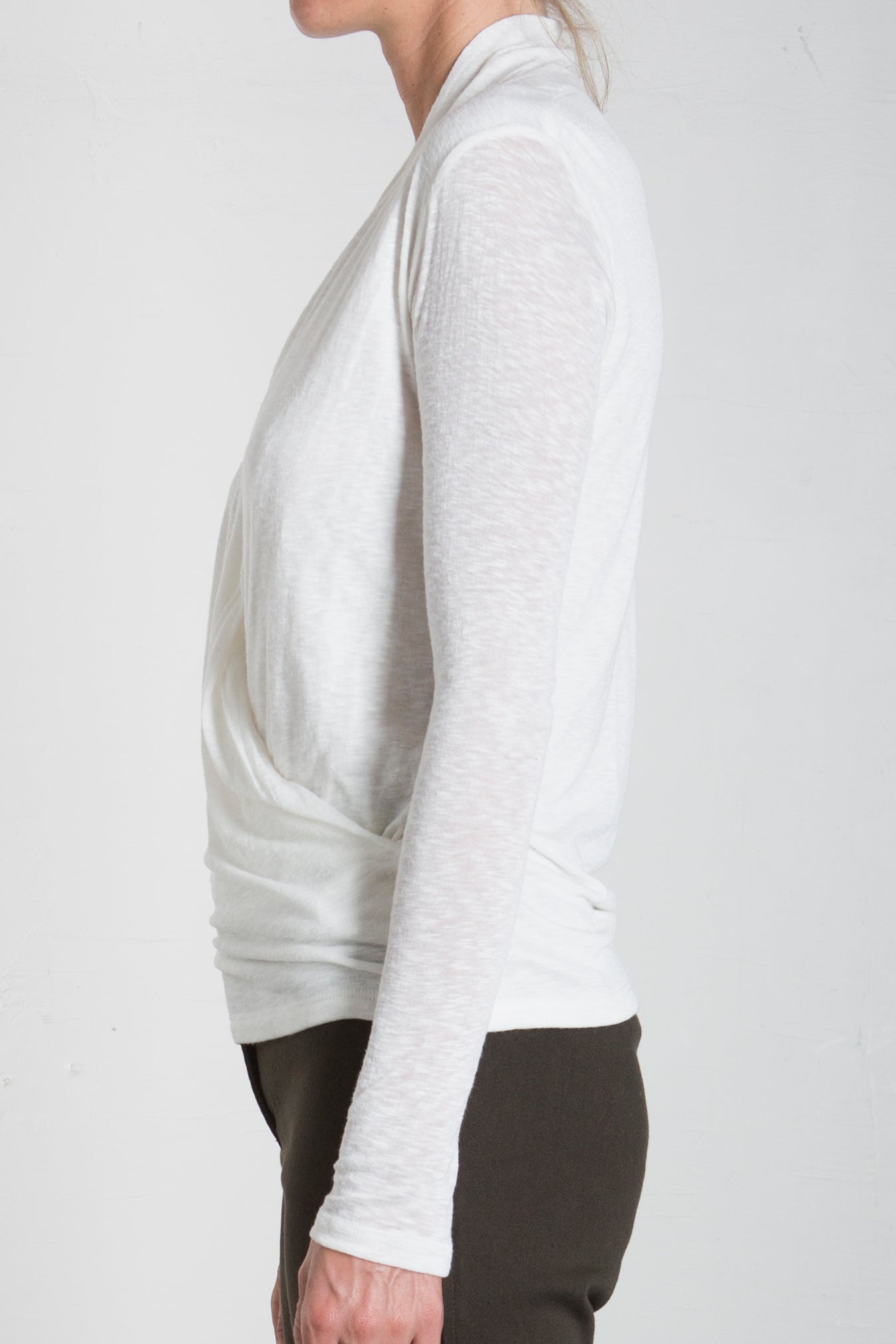 PLUSH LONG SLEEVED MOCK WRAP