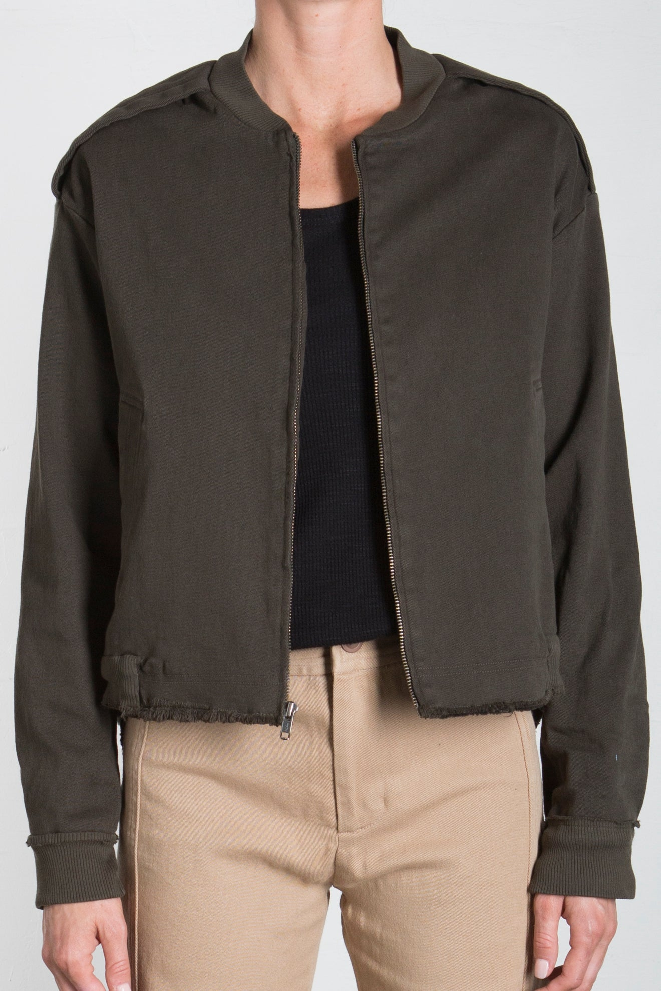 TWILL SWING BACK BOMBER - FOREST