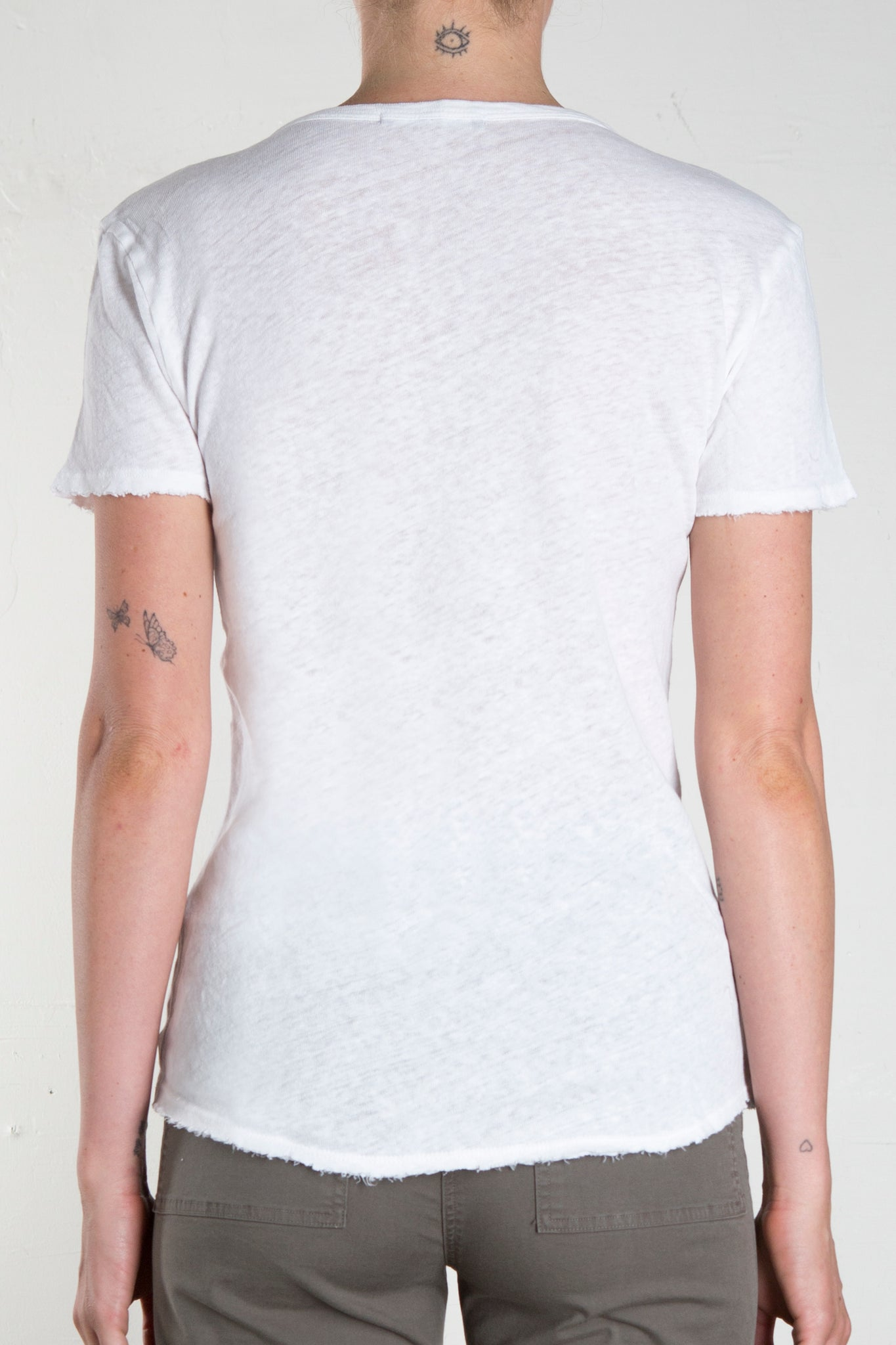 Twisted Seam Cotton Linen Tee - White