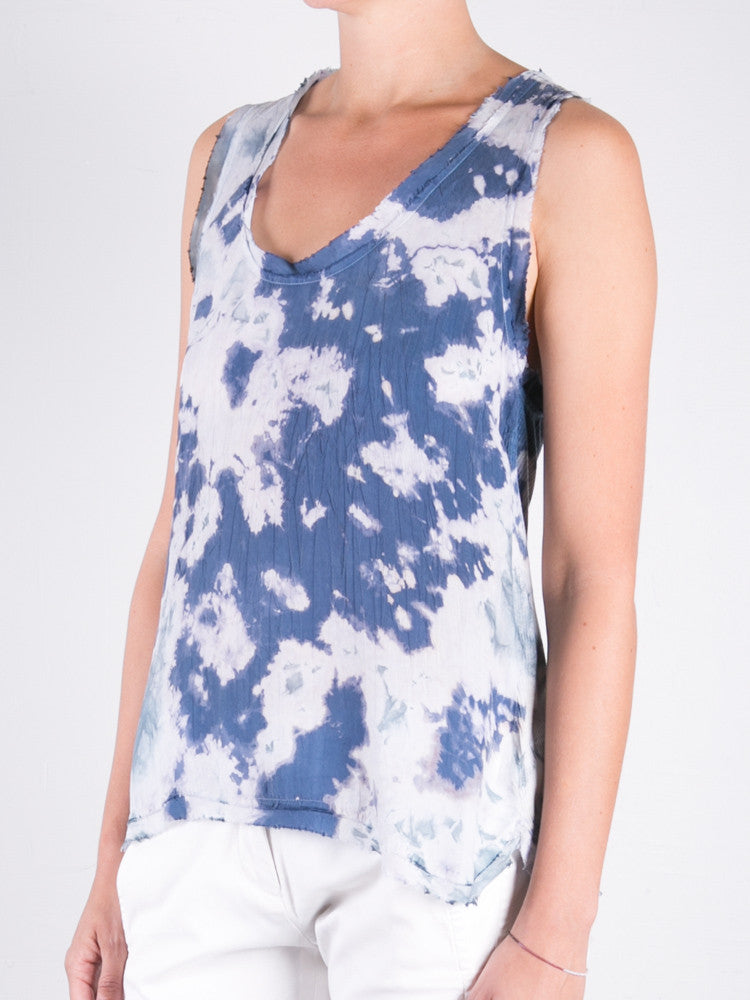 Cupro Marble Rib Back Tank / Blue Green