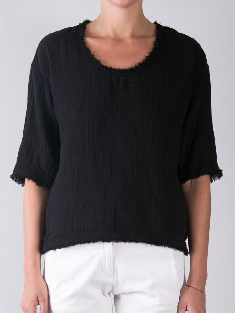 Double Cotton Gauze Celine Top / Black
