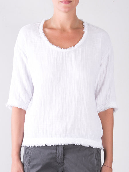 Double Cotton Gauze Celine Top / White