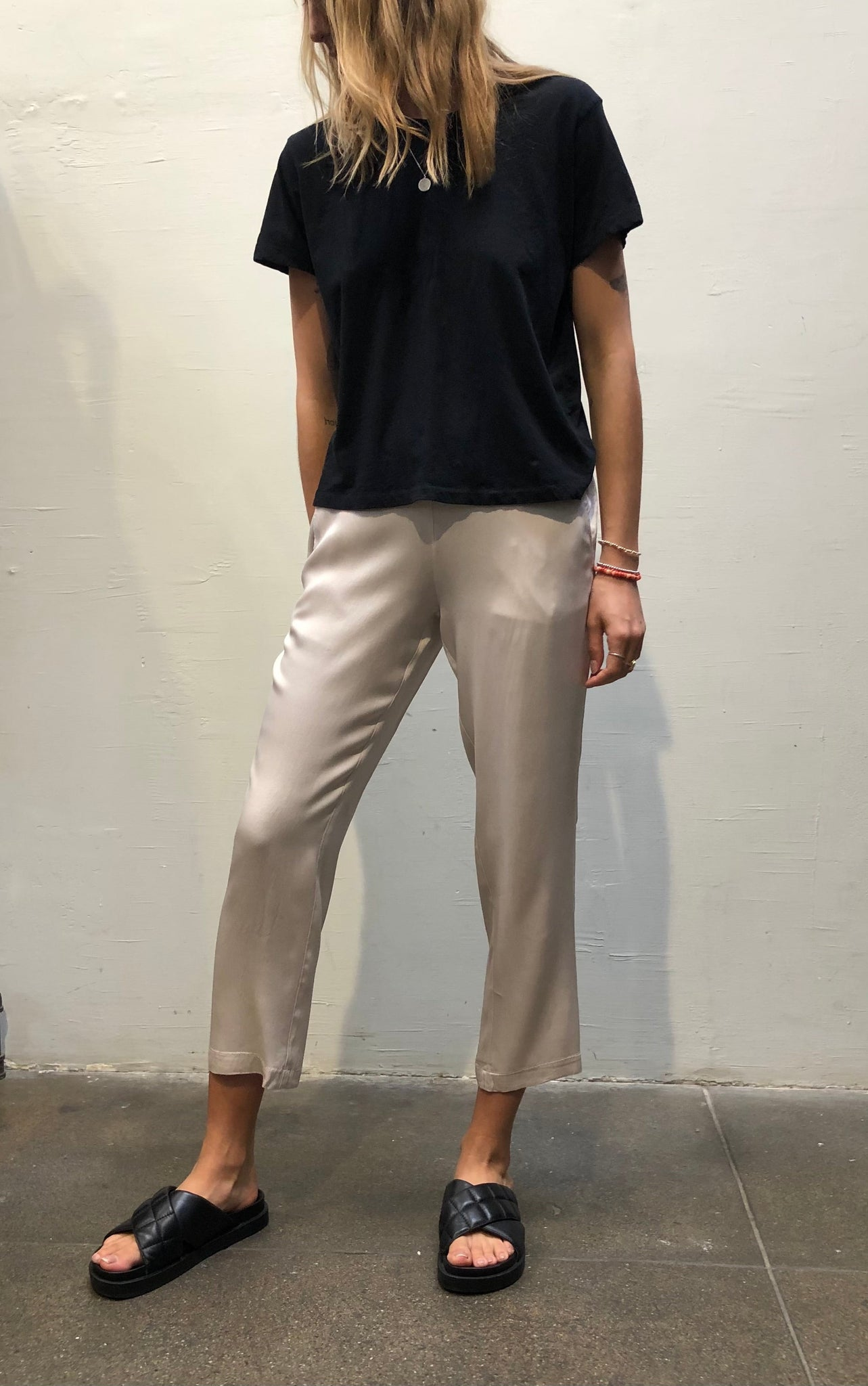 Parker Pull On Trouser Pant in Vintage Satin - Parchment