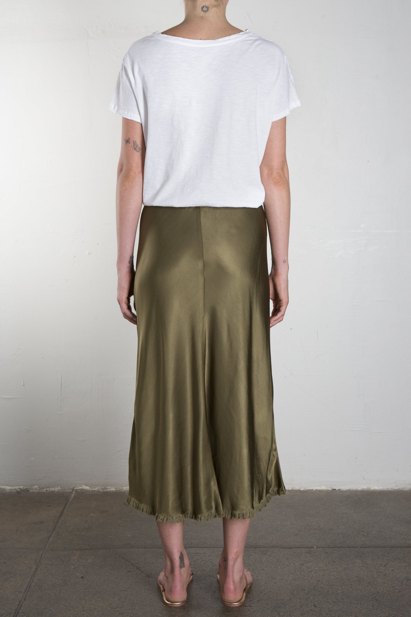 Riley Vintage Satin Skirt - Olive